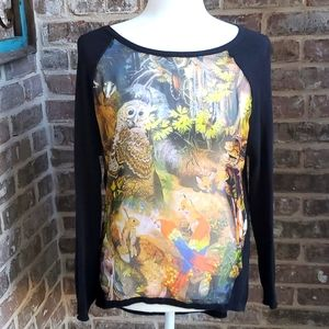 Yumi Knitwear Sheer Panel Forest Print Sweater